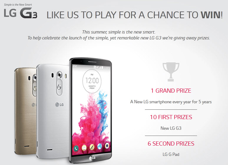 Win A new LG smartphone every year for 5 years, 10 LG G3 and 6 LG G Pad From LG USA
