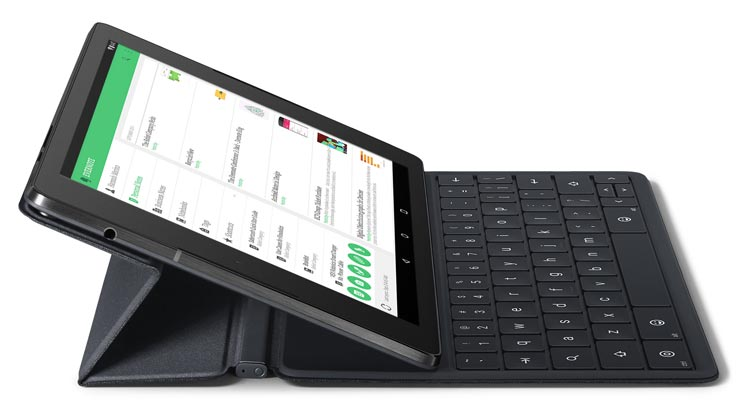 Magnetically attached fully responsive keyboard with Nexus 9