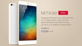 Xiaomi unveils Mi Note Pro with 5.7-inch Quad HD display, 4GB RAM, Snapdragon 810